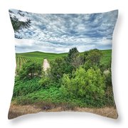 Vineyard On Cloudy Day Throw Pillow