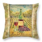 Vineyard Pinot Noir Grapes N Wine - Batik Style Throw Pillow