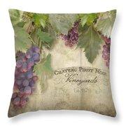 Vineyard Series - Chateau Pinot Noir Vineyards Sign Throw Pillow