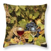 Vineyard With Red And White Wine Autumn Season Throw Pillow