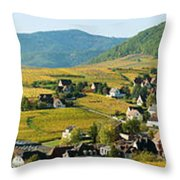 Vineyards In Autumn In The Morning Throw Pillow