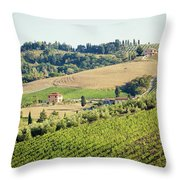 Vineyards With Stone House, Tuscany, Italy Throw Pillow