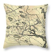 Vintage 1692 Map Of Salem Massachusetts - 1866 Throw Pillow