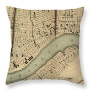 Vintage 1840s Map Of New Orleans Throw Pillow