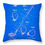 Vintage 1910 Golf Club Patent Blue Print Throw Pillow