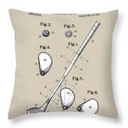 Vintage 1910 Golf Club Patent In Sepia Throw Pillow