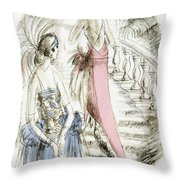 Vintage 1920s Fashion Plate  Evening Dresses Throw Pillow
