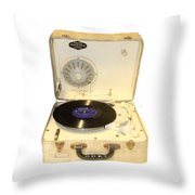 Vintage 1950s Record Player And Vinyl Record Throw Pillow