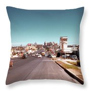 Vintage 1950s View Of Congress Avenue Looking North From South Congress To The Capitol Throw Pillow