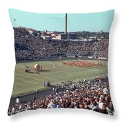 Vintage 1955 Photo Of Us Military Color Guard With Big Bertha Dr Throw Pillow