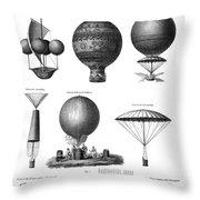 Vintage Aeronautics - Early Balloon Designs Throw Pillow