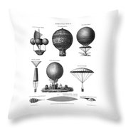Vintage Aeronautics - Early Balloon Designs Throw Pillow
