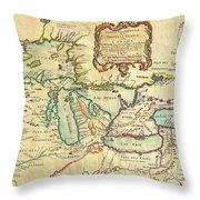 Vintage Antique Map Of The Great Lakes Throw Pillow