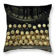 Vintage Antique Typewriter - Text Me - Antique Typewriter Keys Print Black And Gold Throw Pillow