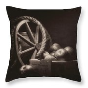 Vintage Apple Basket Still Life Throw Pillow