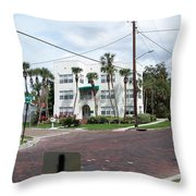 Vintage Florida Apt Bldg Throw Pillow