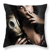 Vintage Army Pinup Girl Holding Gas Mask Throw Pillow