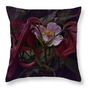 Vintage Asiatic Lilies  Throw Pillow