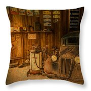 Vintage Auto Repair Garage With Truck And Signs Throw Pillow