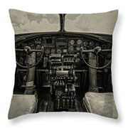 Vintage B-17 Cockpit Throw Pillow