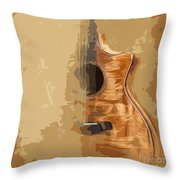 Vintage Background Guitar Throw Pillow