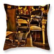 Vintage Barber Chair Throw Pillow