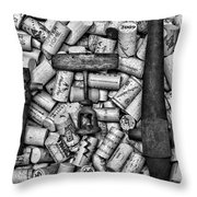 Vintage Barrel Taps And Cork Screw Black And White Throw Pillow