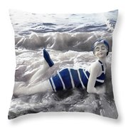 Vintage Bathing Beauty Throw Pillow