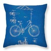 Vintage Bicycle Parasol Patent Artwork 1896 Throw Pillow