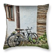 Vintage Bicycles The Journey Throw Pillow