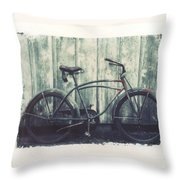 Vintage Bike Polaroid Transfer Throw Pillow by Jane Linders