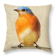 Vintage Bluebird Throw Pillow
