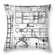 Vintage Blueprints Throw Pillow by Yali Shi