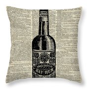 Vintage Bottle Of Rum Over Antique Book Page Throw Pillow