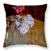 Vintage Bottles With Viburnum Flowers Throw Pillow