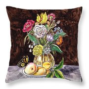 Vintage Bouquet With Fruits And Butterfly  Throw Pillow