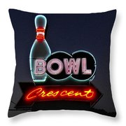 Vintage Bowling Neon Sign Throw Pillow