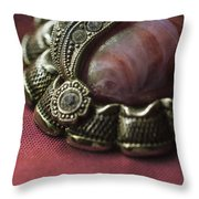 Vintage Brooch With Red Gem Throw Pillow