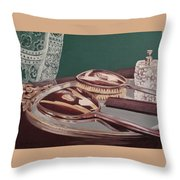 Vintage Brush And Comb Set Throw Pillow by Kathy Weidner