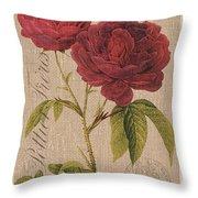 Vintage Burlap Floral 3 Throw Pillow