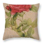 Vintage Burlap Floral Throw Pillow
