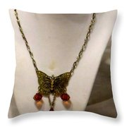 Vintage Butterfly Dreams Necklace Throw Pillow