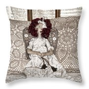 Vintage Button Angel Doll On Crocheted Spread Throw Pillow