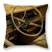 Vintage Cadillac Steering Wheel And Interior Throw Pillow