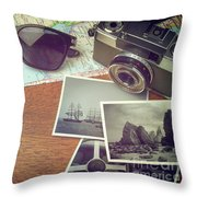 Vintage Camera And Map Throw Pillow