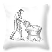 Vintage Candlemaker Foundry Drawing Throw Pillow