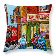 Vintage Candy Store Classic Coca Cola Truck Winter Scene Hockey Art Canadian Art Carole Spandau      Throw Pillow