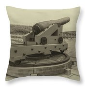 Vintage Cannon At Fort Moultrie Throw Pillow