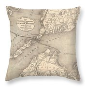 Vintage Cape Cod Old Colony Line Map  Throw Pillow