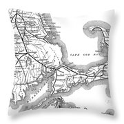 Vintage Cape Cod Old Colony Railroad Map Throw Pillow